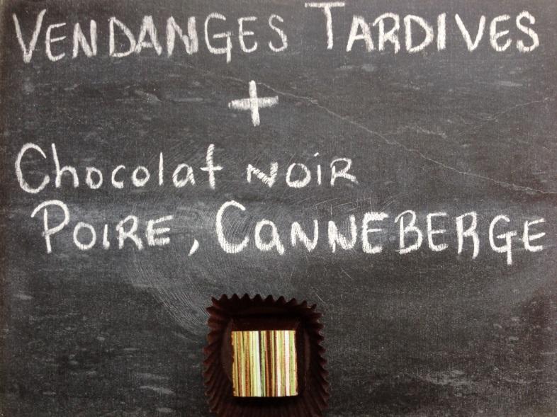 Vendange tardive et chocolat noir poire canneberge